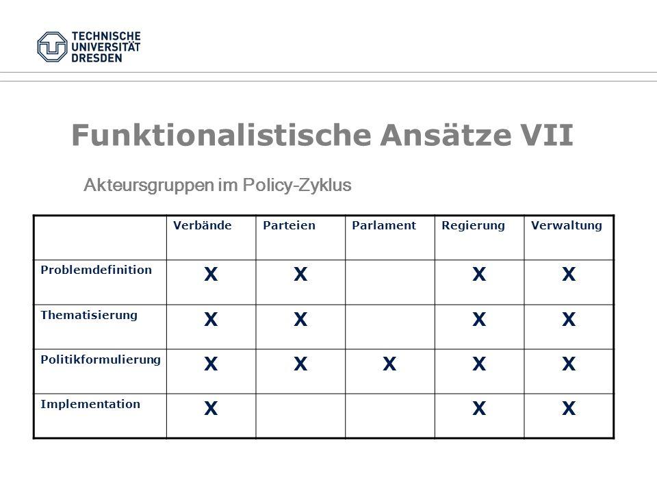 Funktionalistische Ansätze VII