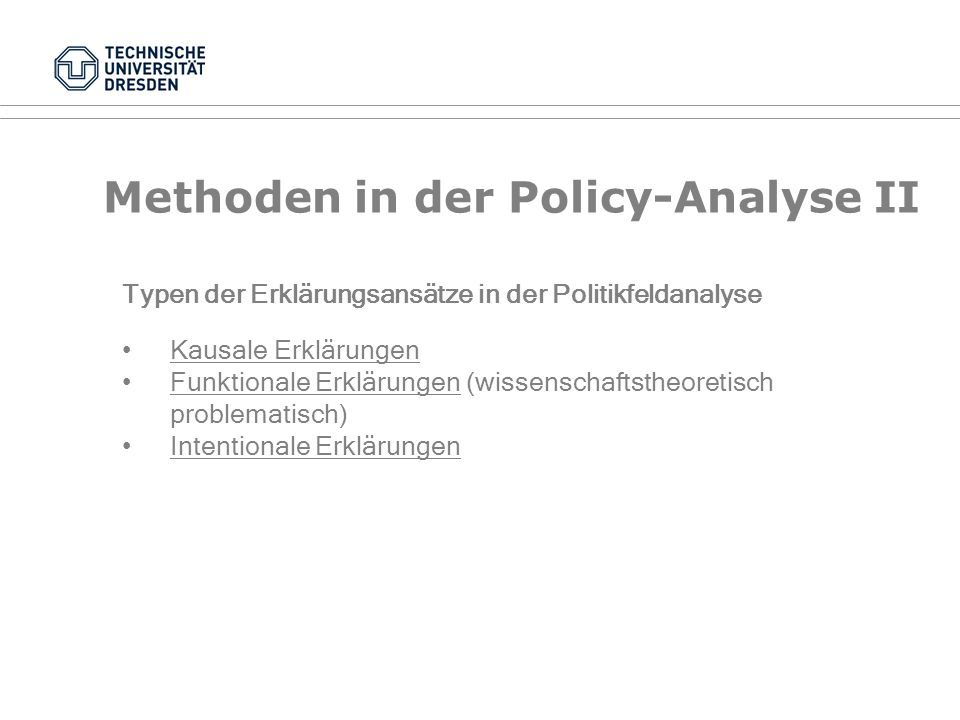 Methoden in der Policy-Analyse II