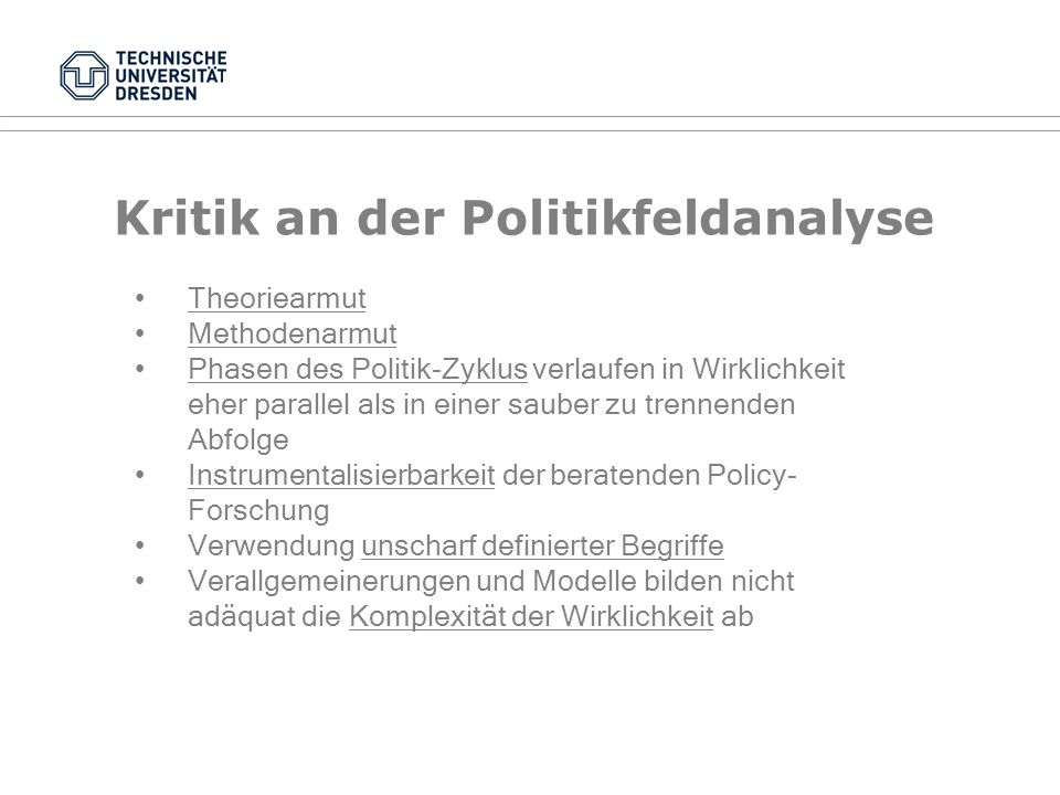 Kritik an der Politikfeldanalyse