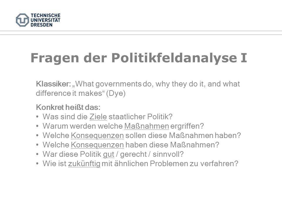 Fragen der Politikfeldanalyse I
