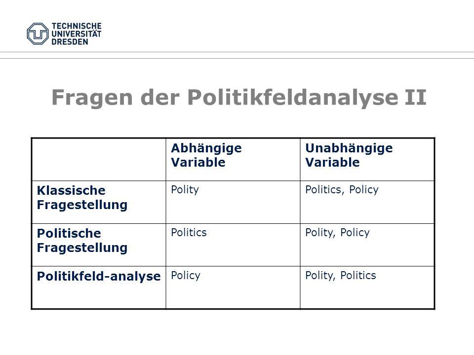 Fragen der Politikfeldanalyse II