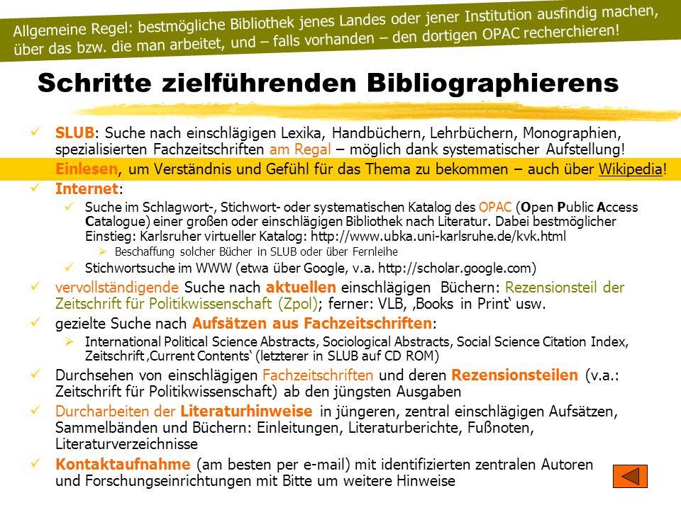 Schritte zielführenden Bibliographierens