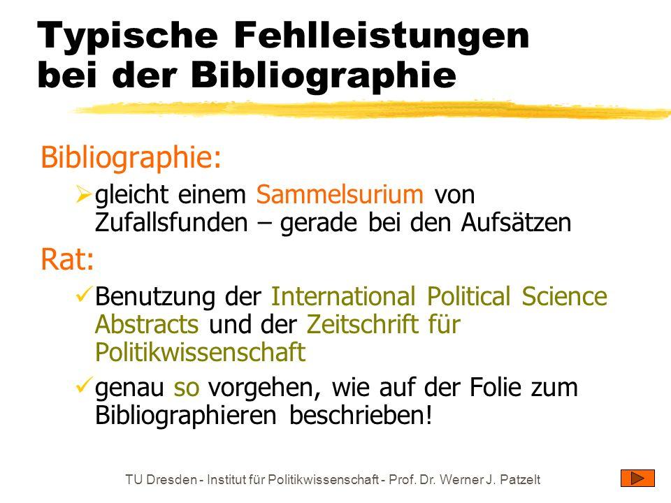 Typische Fehlleistungen bei der Bibliographie