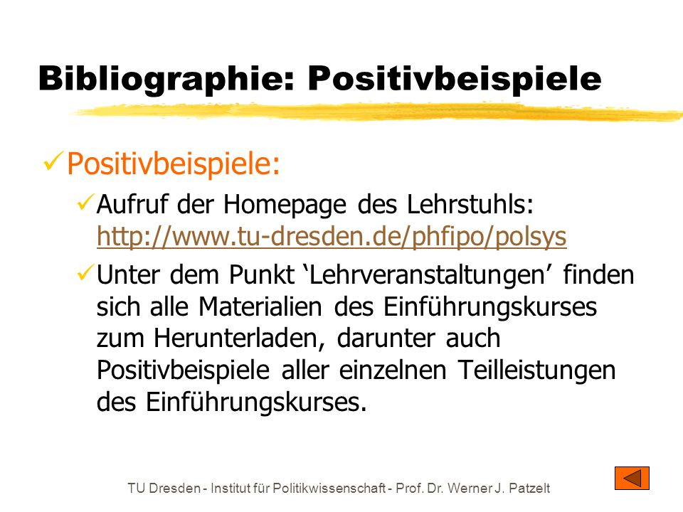 Bibliographie: Positivbeispiele