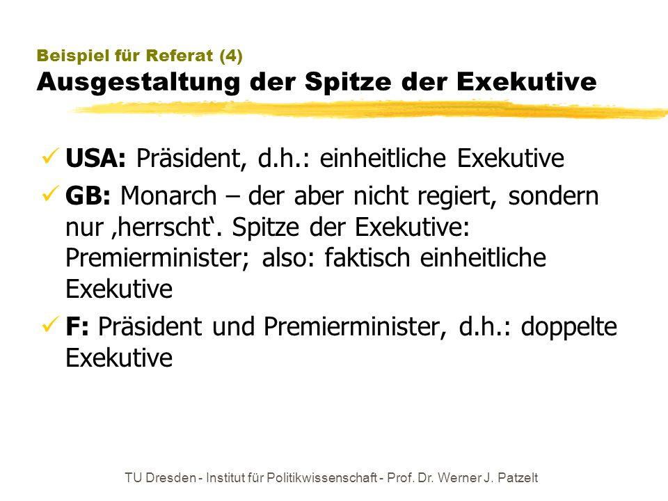 Beispiel für Referat (4) Ausgestaltung der Spitze der Exekutive
