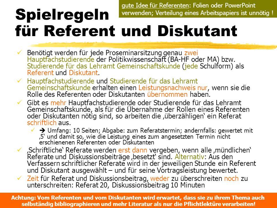 Spielregeln für Referent und Diskutant