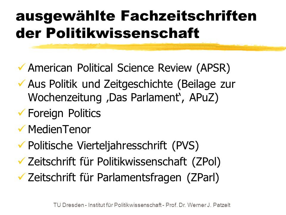 ausgewählte Fachzeitschriften der Politikwissenschaft