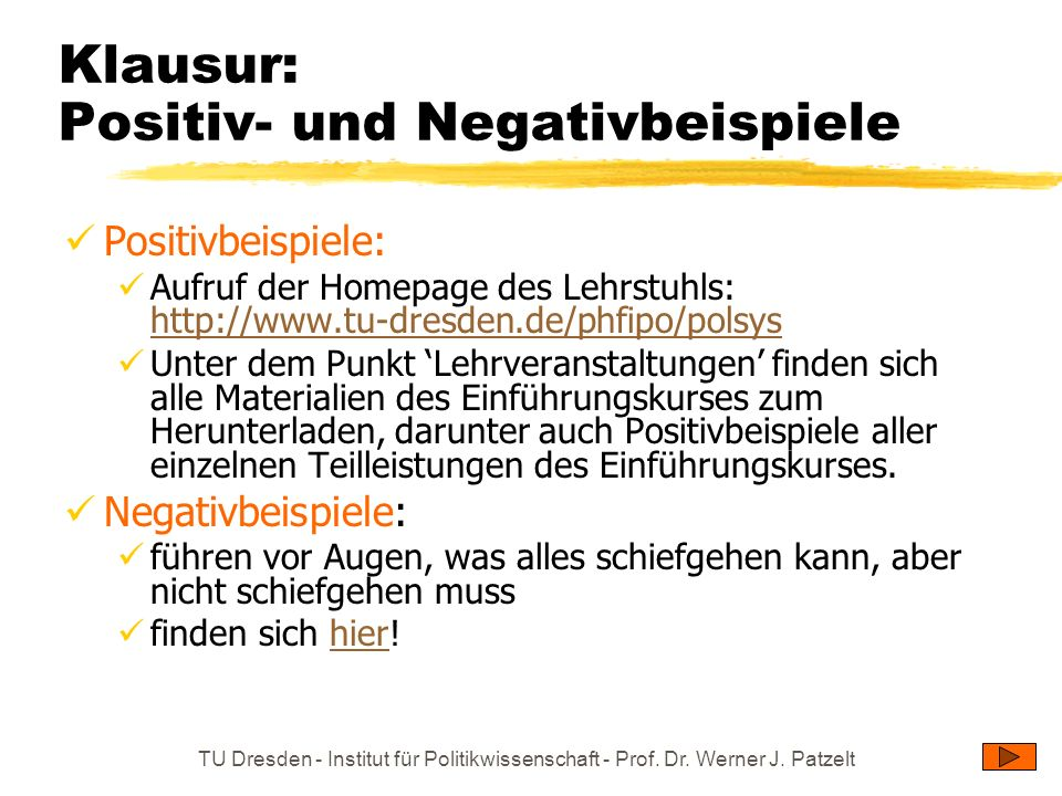 Klausur: Positiv- und Negativbeispiele