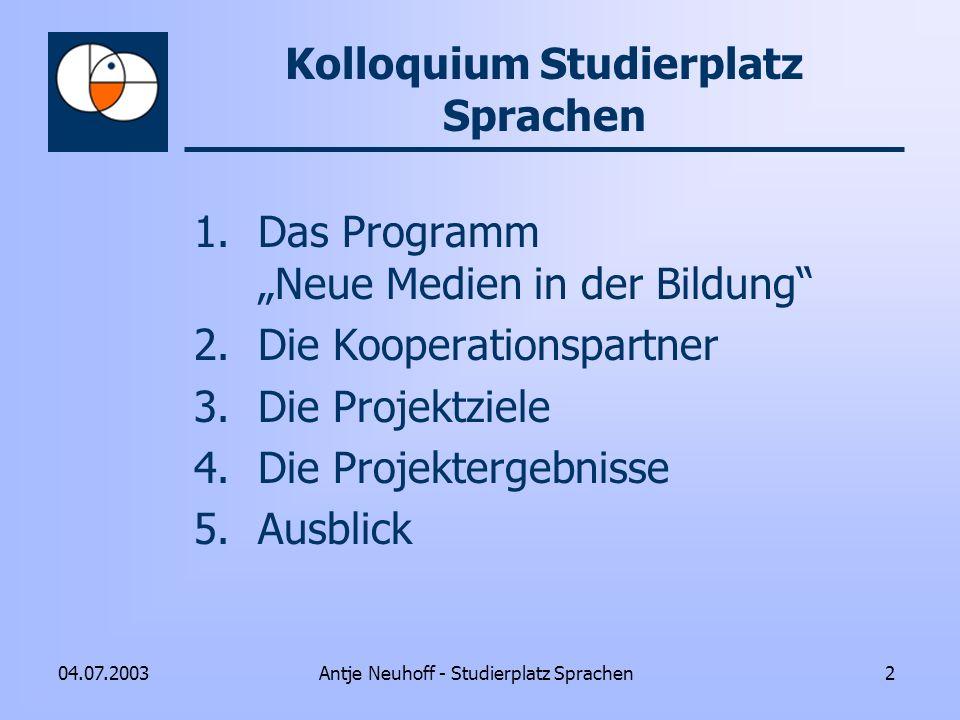Kolloquium Studierplatz Sprachen