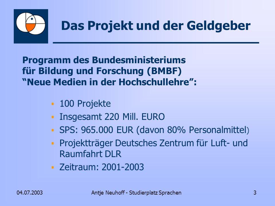 Das Projekt und der Geldgeber