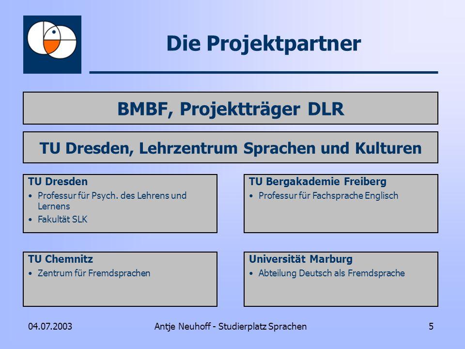BMBF, Projektträger DLR TU Dresden, Lehrzentrum Sprachen und Kulturen