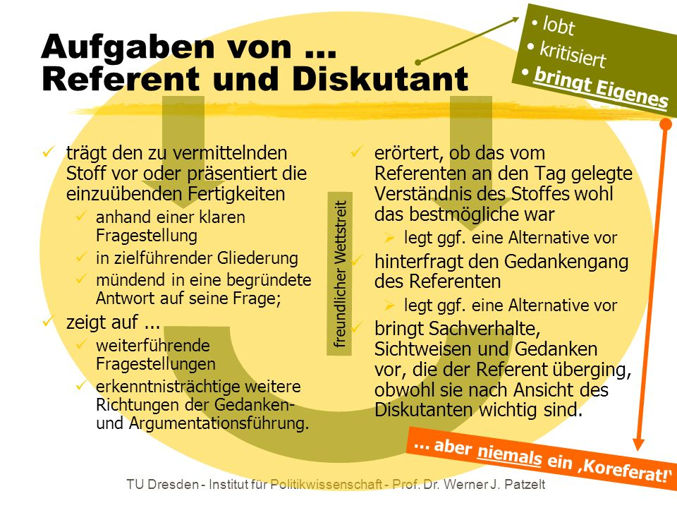 Aufgaben von ... Referent und Diskutant