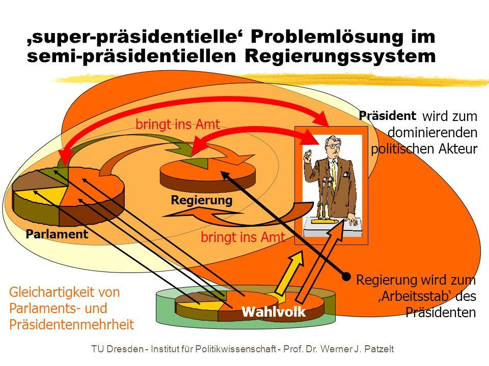 'super-präsidentielle' Problemlösung im semi-präsidentiellen Regierungssystem