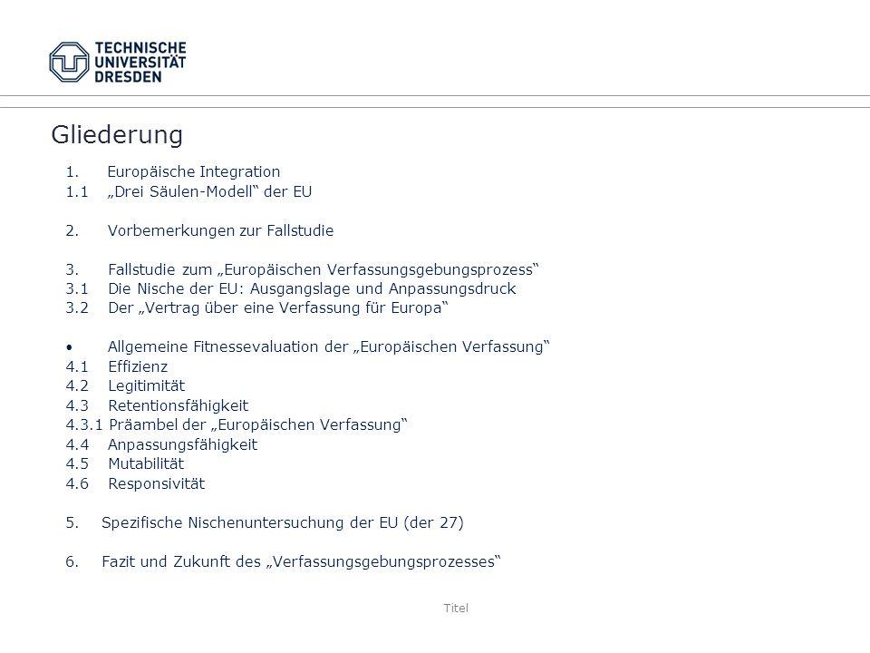 """Gliederung Europäische Integration 1.1 """"Drei Säulen-Modell der EU"""