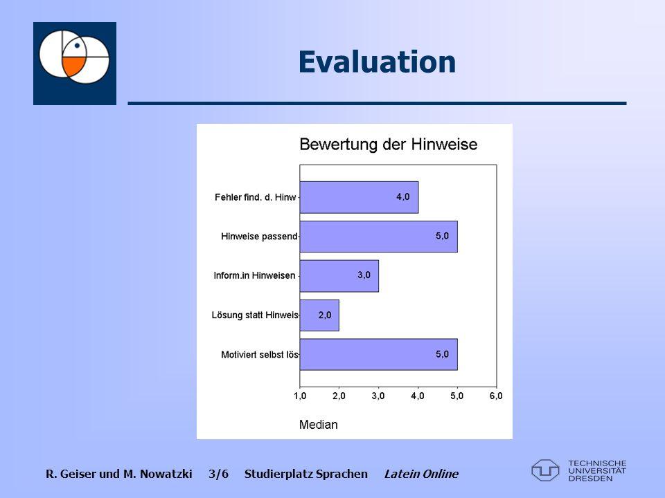 Evaluation Am positivsten empfanden die Nutzer: höchst bewertete Punkte und Hinweisbewertung.