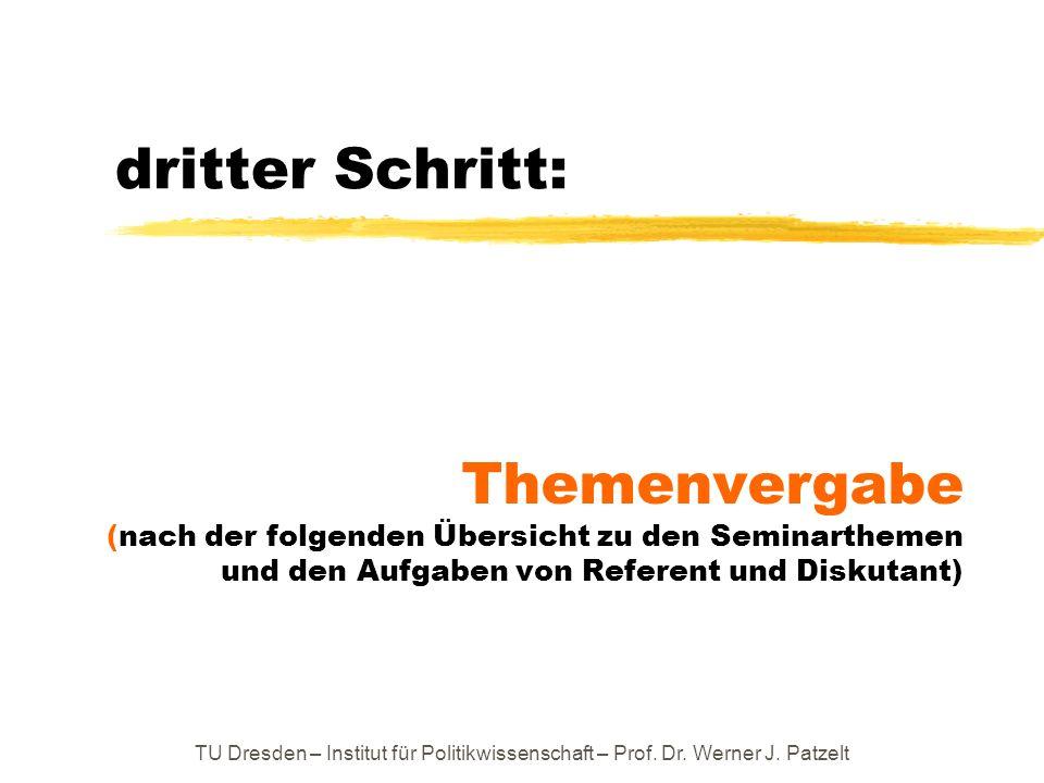 dritter Schritt: Themenvergabe (nach der folgenden Übersicht zu den Seminarthemen und den Aufgaben von Referent und Diskutant)
