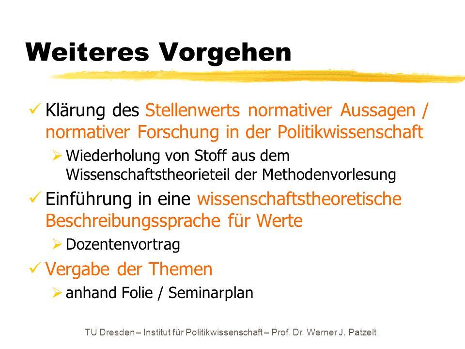 Weiteres VorgehenKlärung des Stellenwerts normativer Aussagen / normativer Forschung in der Politikwissenschaft.
