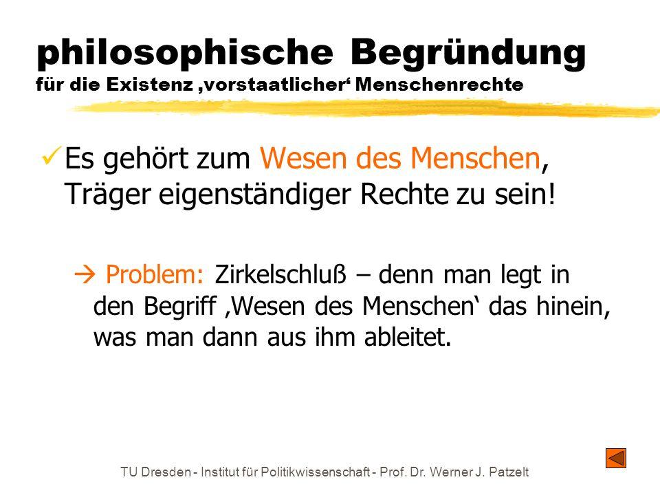 philosophische Begründung für die Existenz 'vorstaatlicher' Menschenrechte