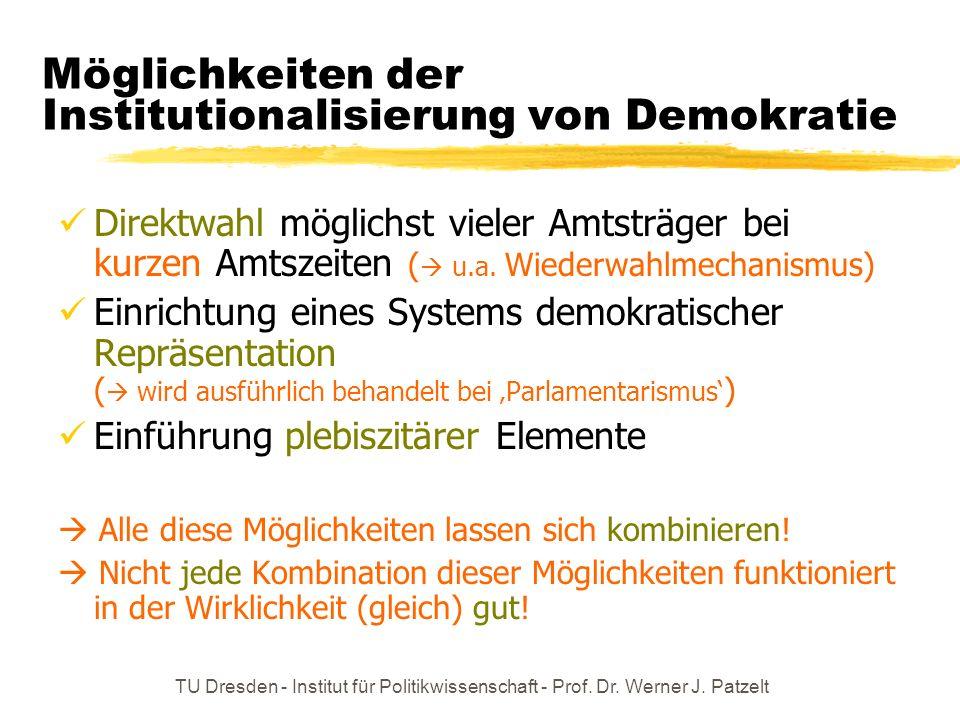 Möglichkeiten der Institutionalisierung von Demokratie