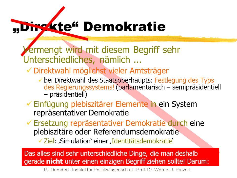 """""""Direkte Demokratie Vermengt wird mit diesem Begriff sehr Unterschiedliches, nämlich ... Direktwahl möglichst vieler Amtsträger."""