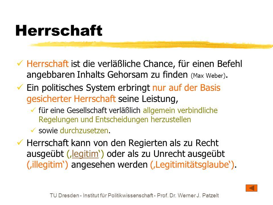 Herrschaft Herrschaft ist die verläßliche Chance, für einen Befehl angebbaren Inhalts Gehorsam zu finden (Max Weber).