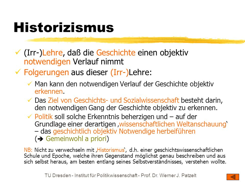 Historizismus (Irr-)Lehre, daß die Geschichte einen objektiv notwendigen Verlauf nimmt. Folgerungen aus dieser (Irr-)Lehre: