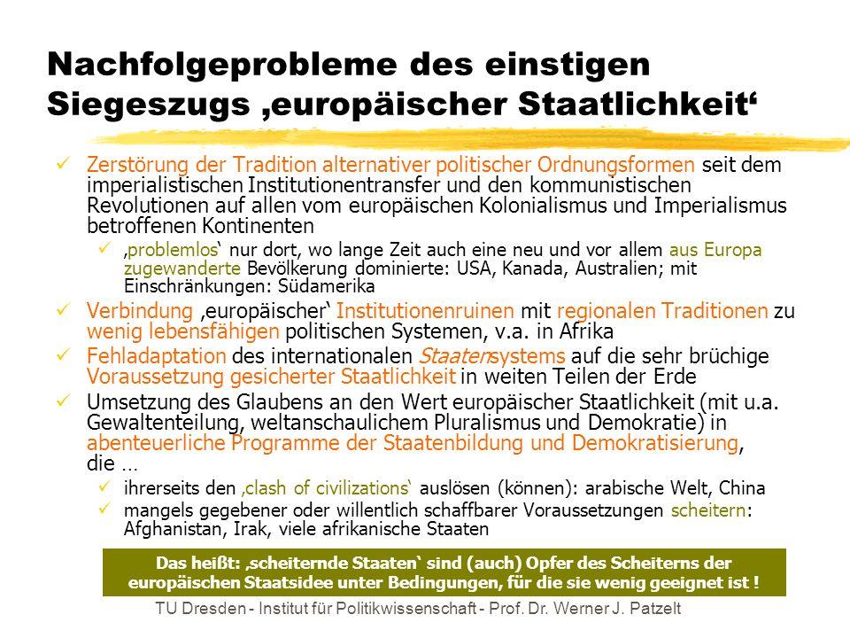 Nachfolgeprobleme des einstigen Siegeszugs 'europäischer Staatlichkeit'