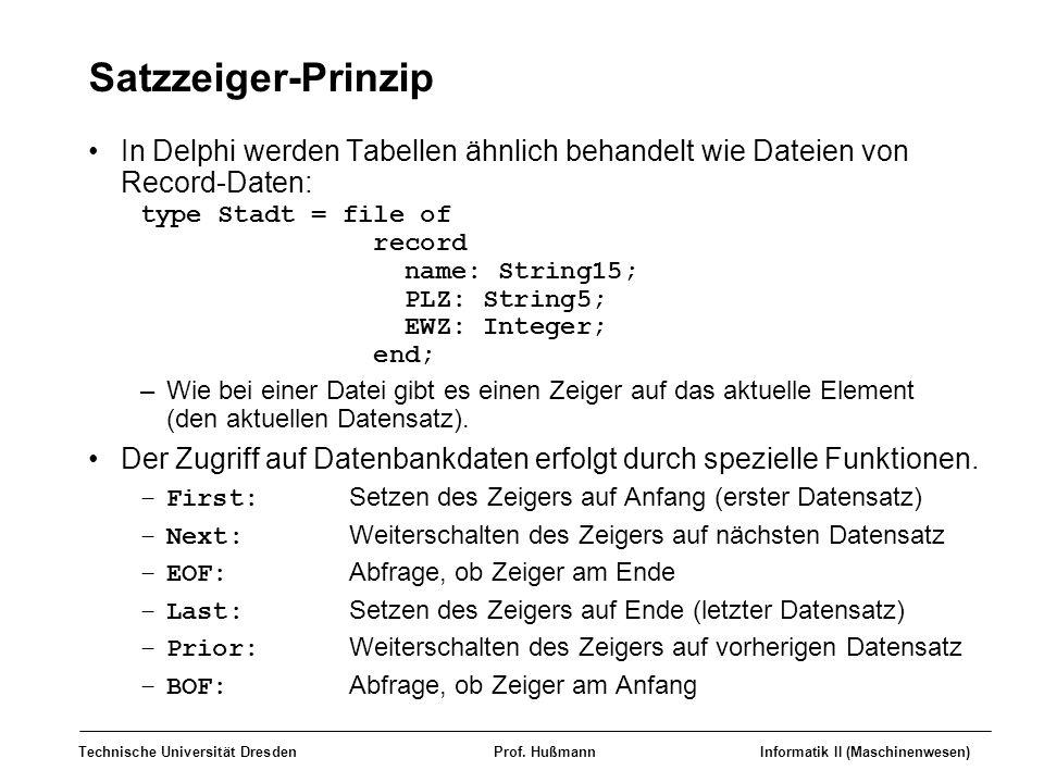 Satzzeiger-Prinzip In Delphi werden Tabellen ähnlich behandelt wie Dateien von Record-Daten: type Stadt = file of.