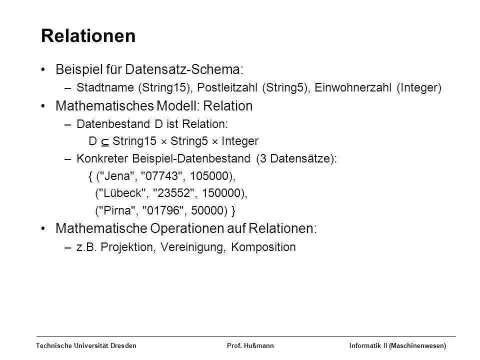 Relationen Beispiel für Datensatz-Schema: