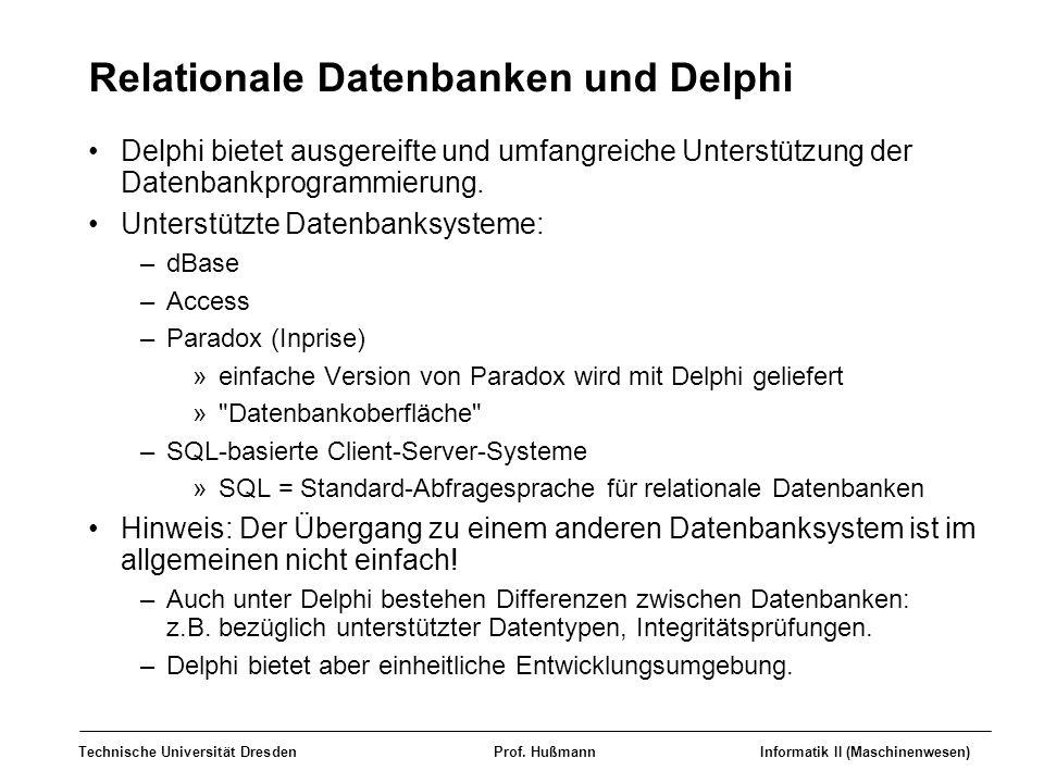 Relationale Datenbanken und Delphi