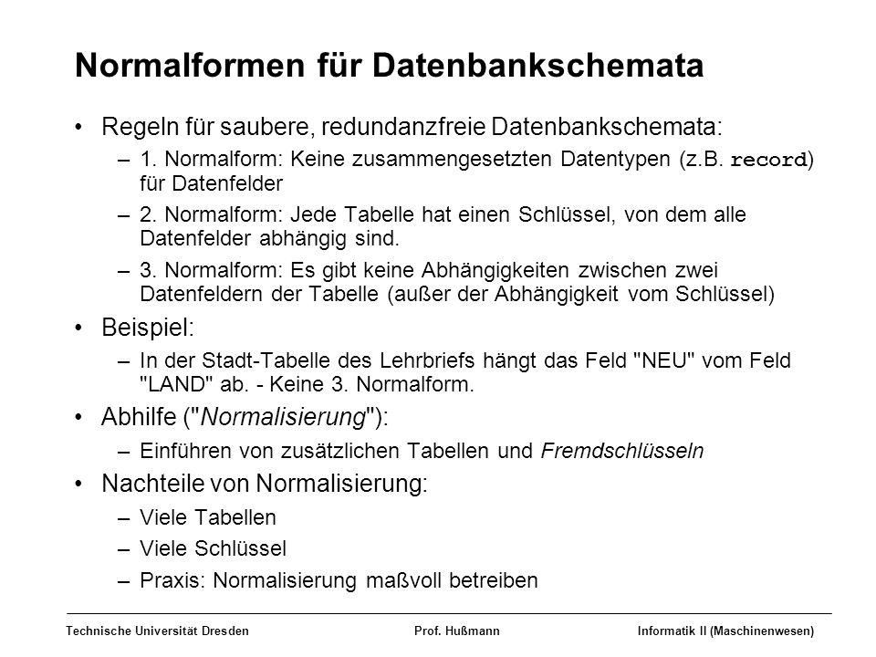 Normalformen für Datenbankschemata