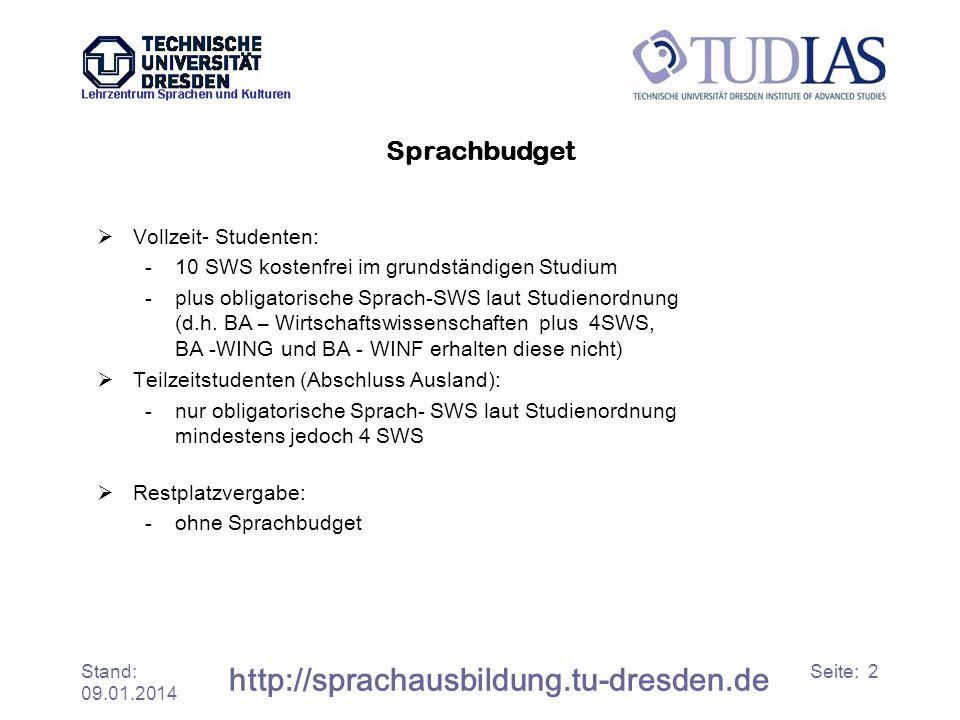 http://sprachausbildung.tu-dresden.de Sprachbudget