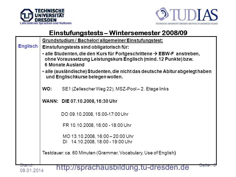 Einstufungstests – Wintersemester 2008/09