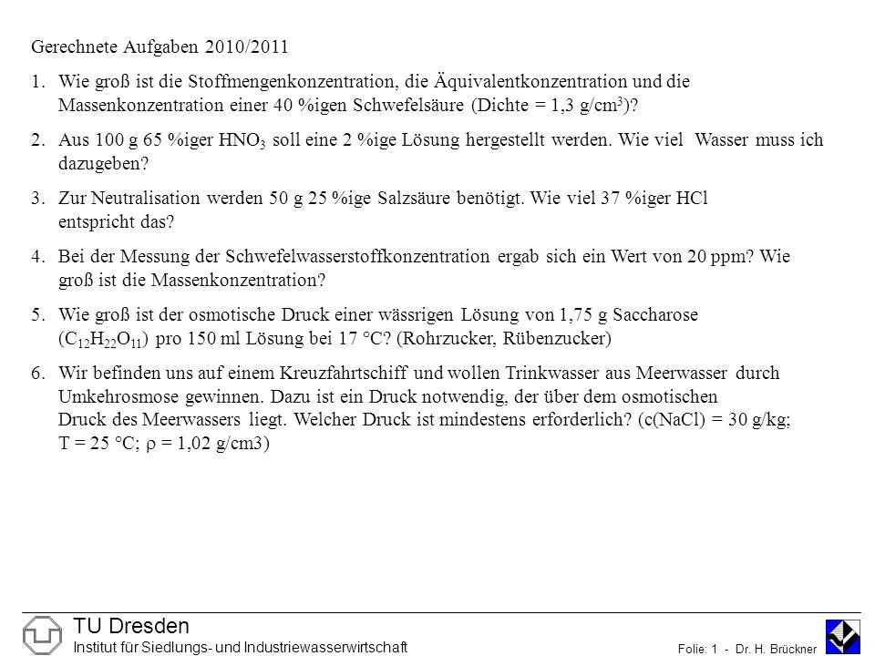 Gerechnete Aufgaben 2010/2011