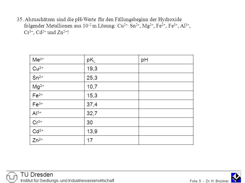 35. Abzuschätzen sind die pH-Werte für den Fällungsbeginn der Hydroxide folgender Metallionen aus 10-2 m Lösung: Cu2+, Sn2+, Mg2+, Fe2+, Fe3+, Al3+, Cr3+, Cd2+ und Zn2+!