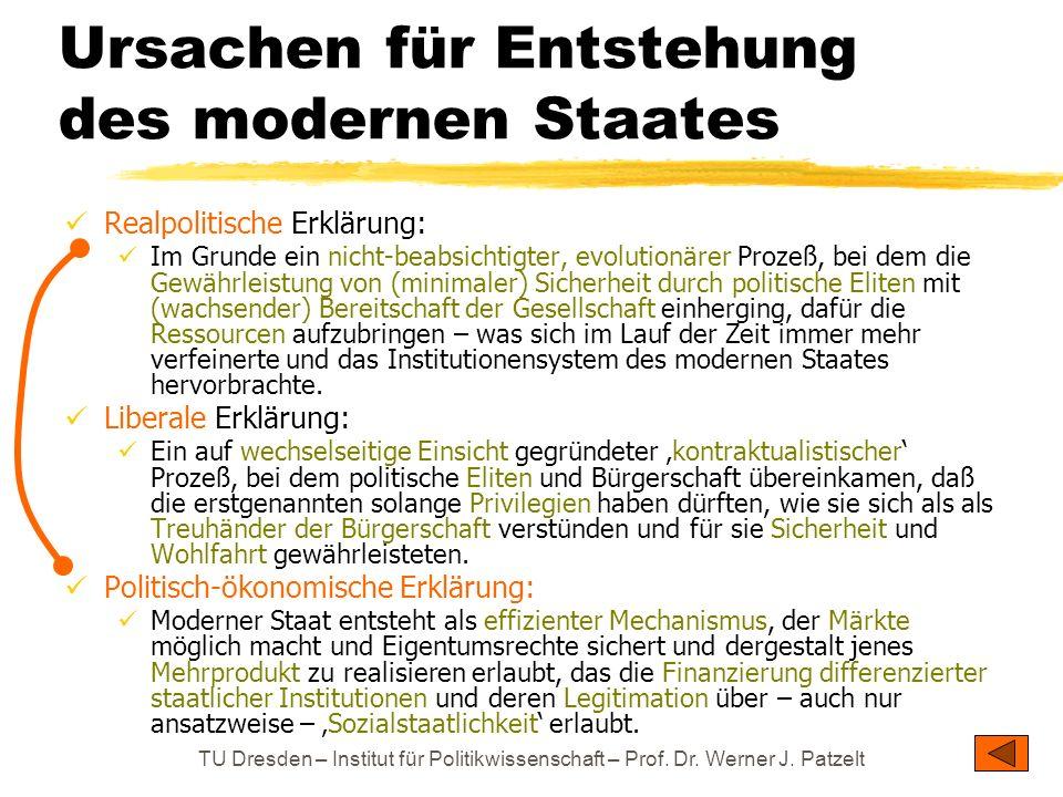 Ursachen für Entstehung des modernen Staates