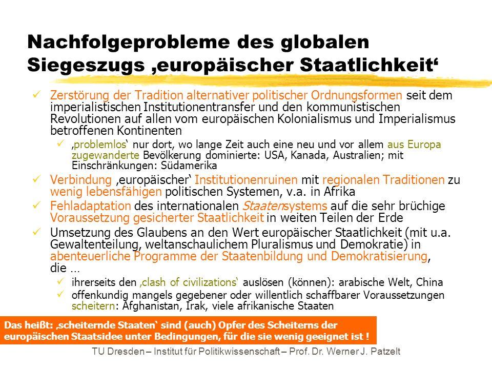 Nachfolgeprobleme des globalen Siegeszugs 'europäischer Staatlichkeit'