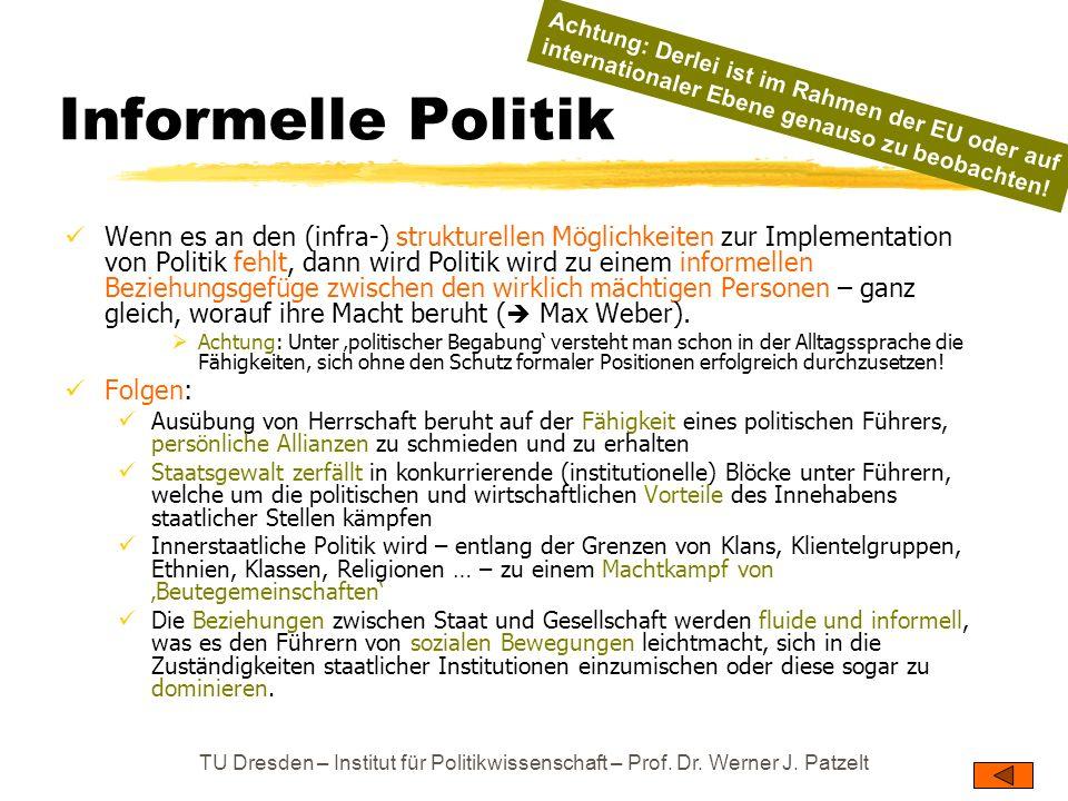 Informelle Politik Achtung: Derlei ist im Rahmen der EU oder auf internationaler Ebene genauso zu beobachten!