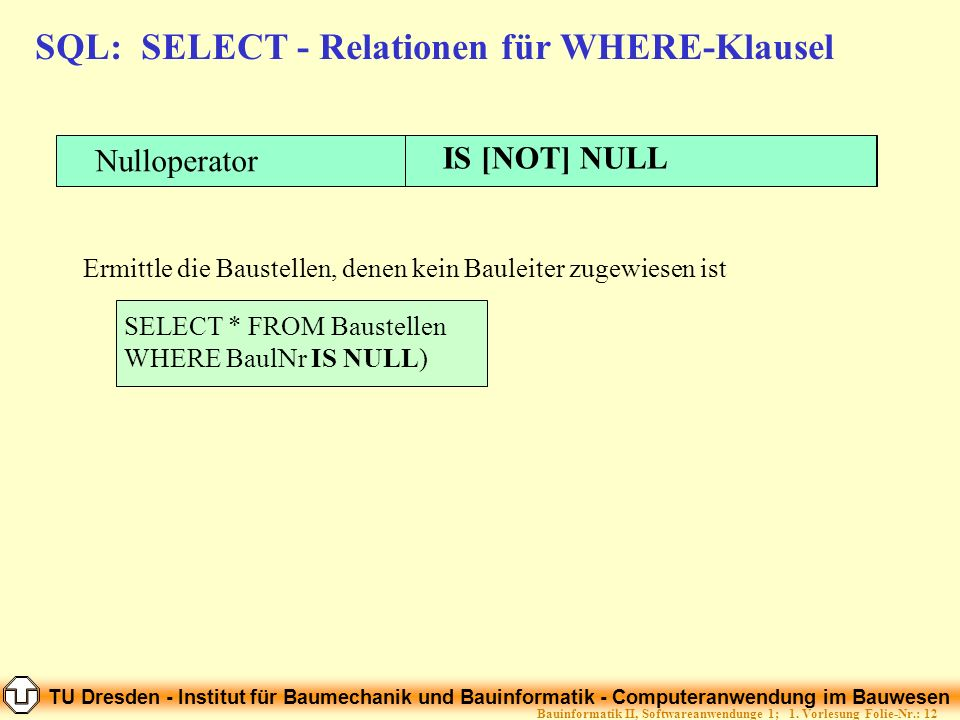 SQL: SELECT - Relationen für WHERE-Klausel