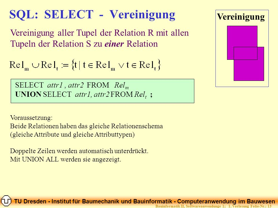 SQL: SELECT - Vereinigung