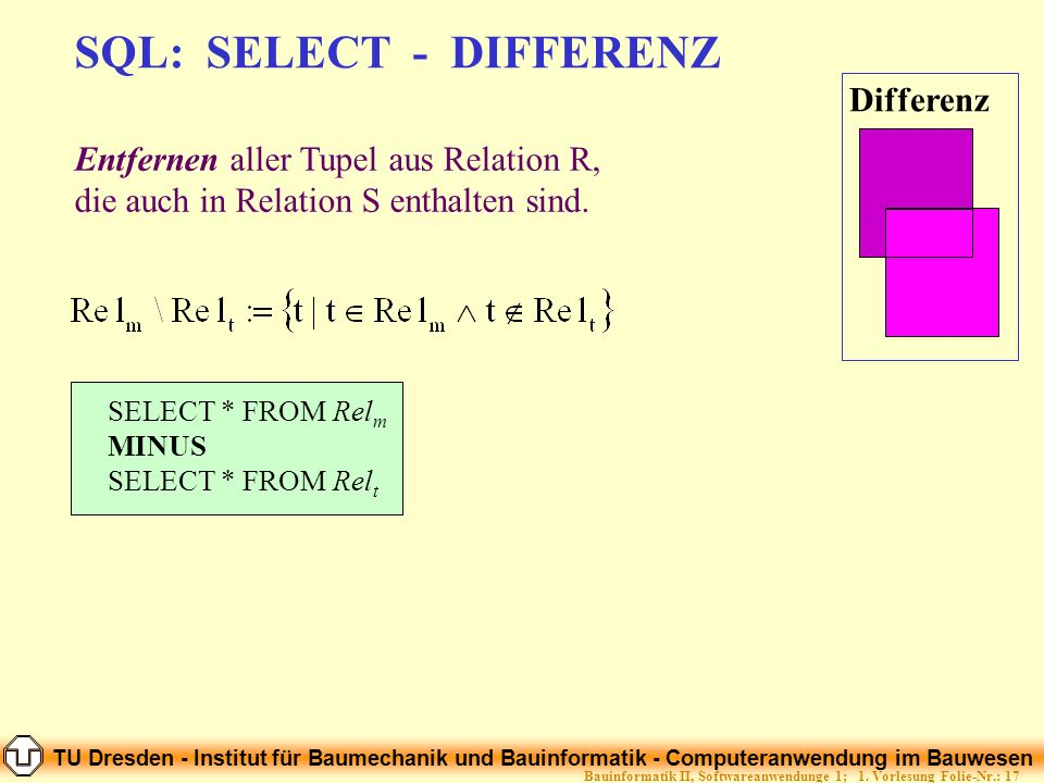 SQL: SELECT - DIFFERENZ