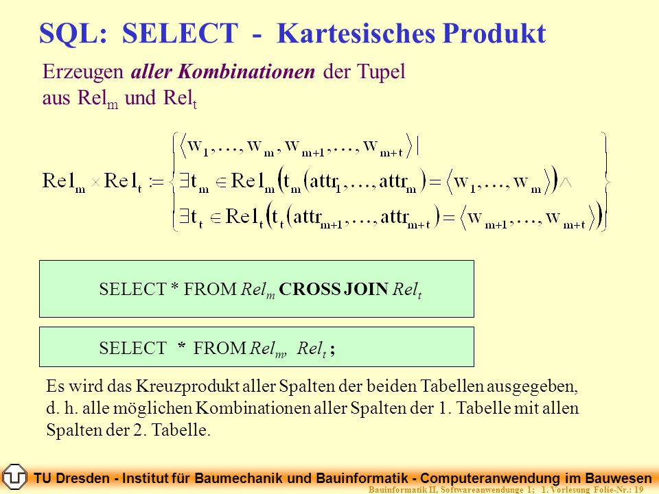 SQL: SELECT - Kartesisches Produkt