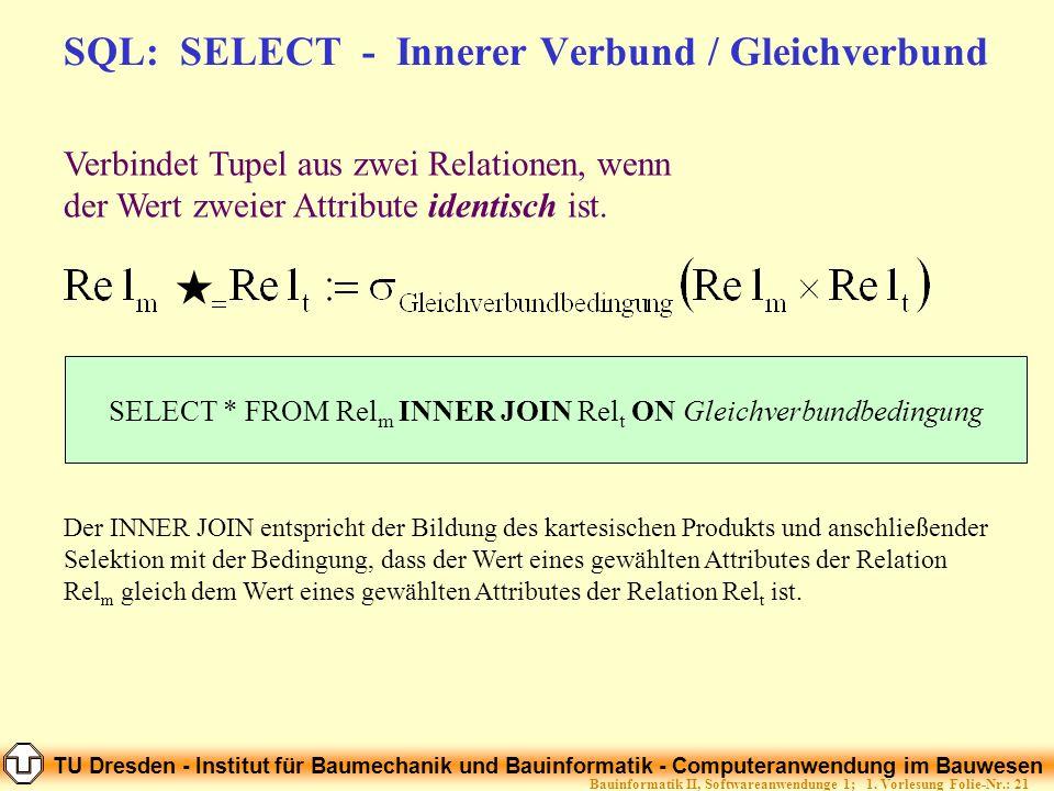 SQL: SELECT - Innerer Verbund / Gleichverbund
