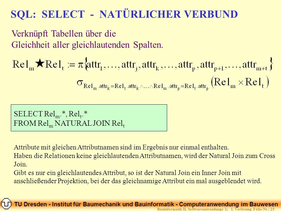 SQL: SELECT - NATÜRLICHER VERBUND