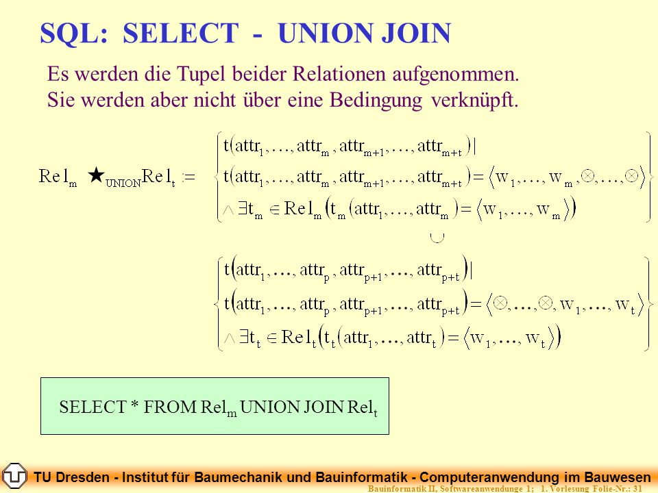 SQL: SELECT - UNION JOIN