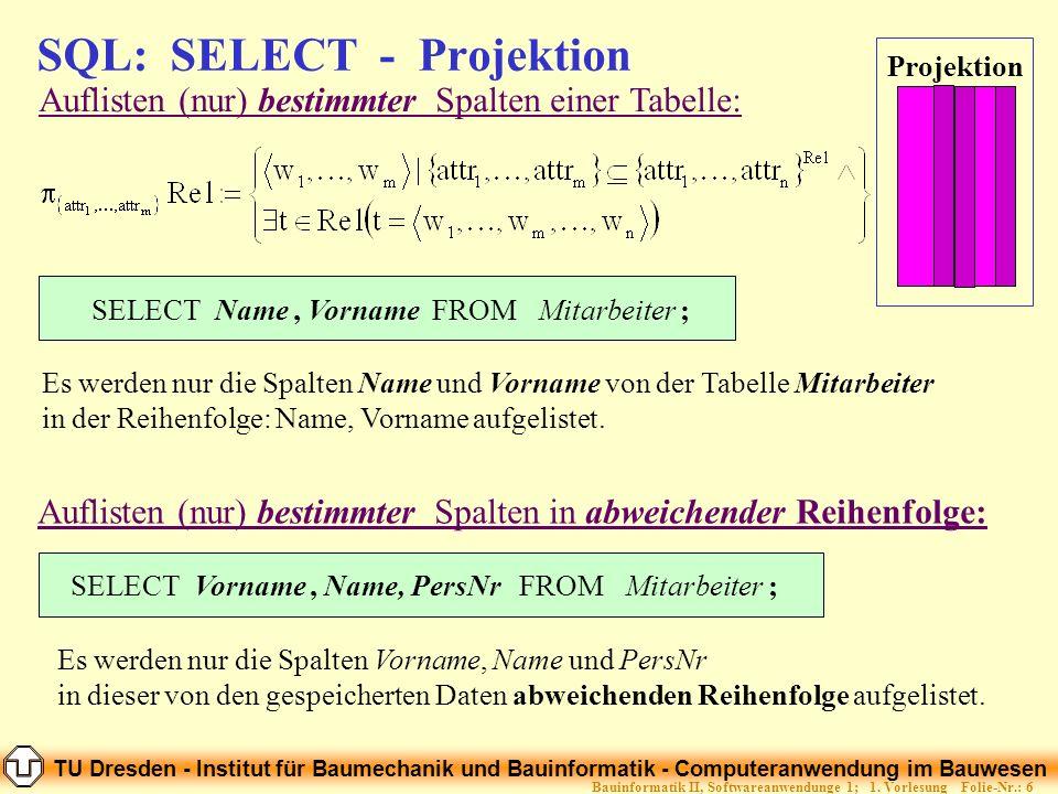 SQL: SELECT - Projektion