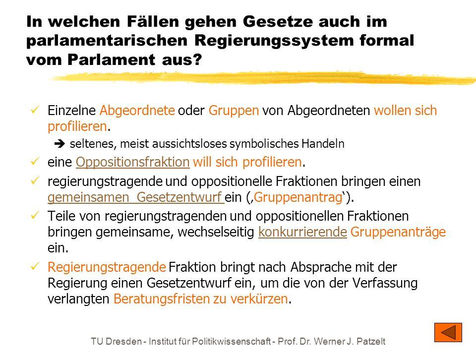 In welchen Fällen gehen Gesetze auch im parlamentarischen Regierungssystem formal vom Parlament aus