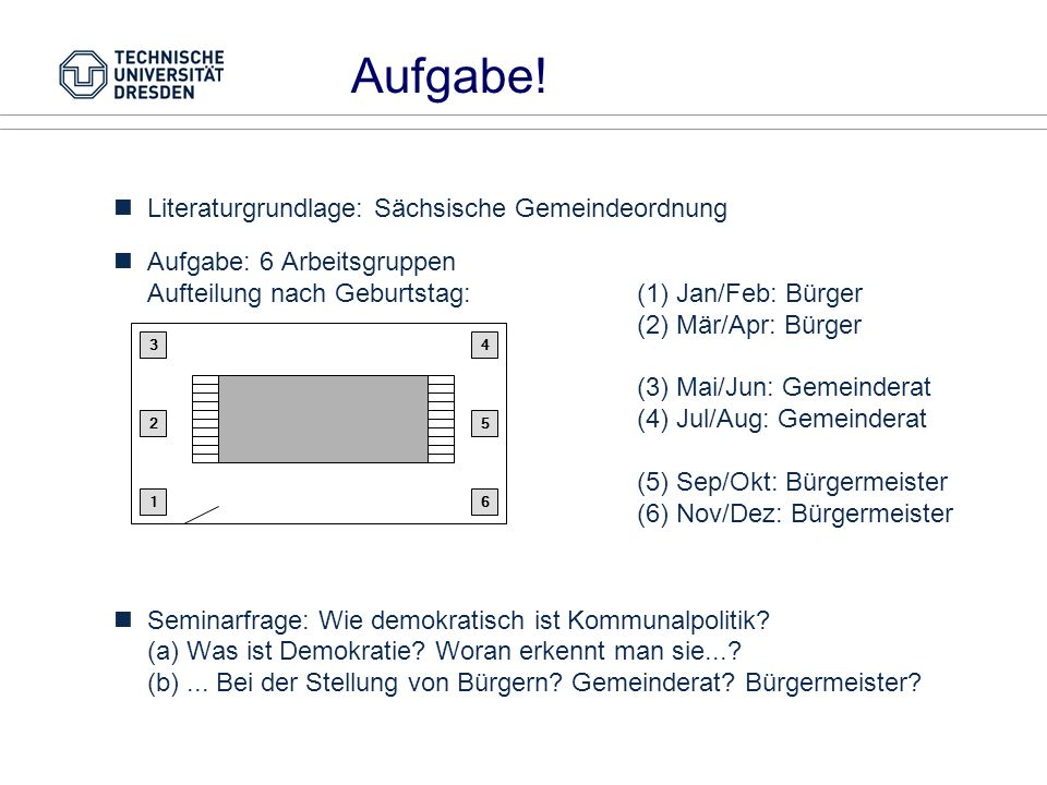 Aufgabe! Literaturgrundlage: Sächsische Gemeindeordnung