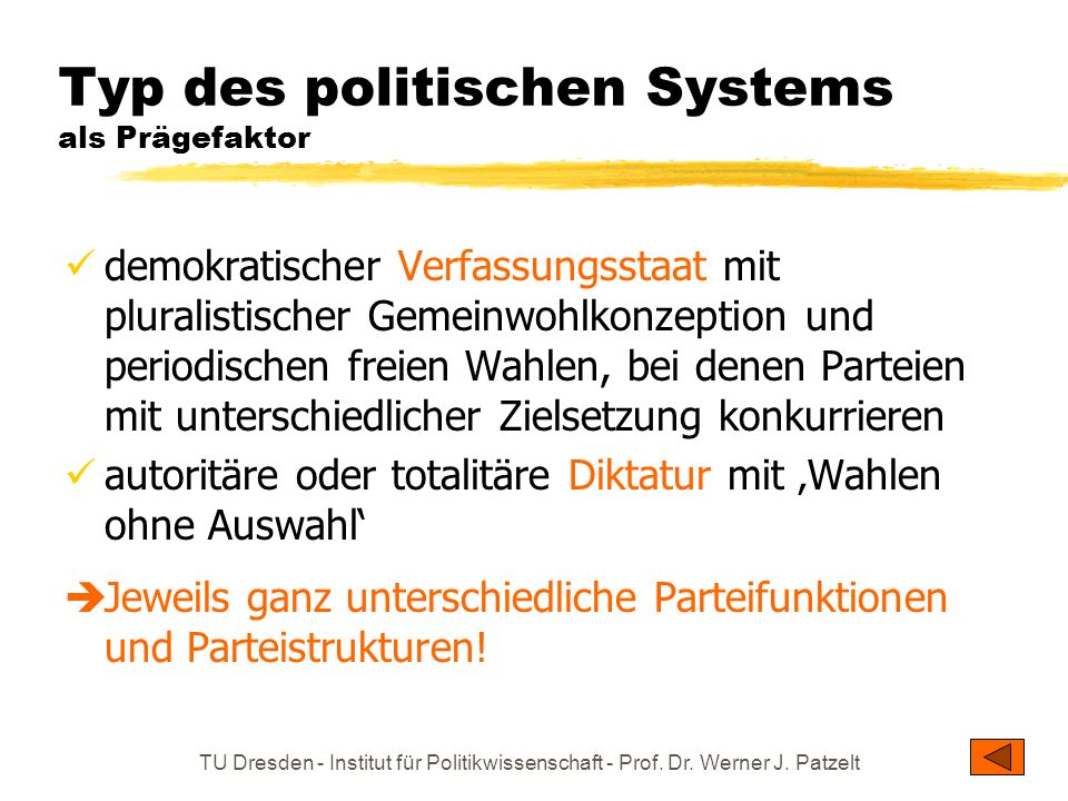 Typ des politischen Systems als Prägefaktor
