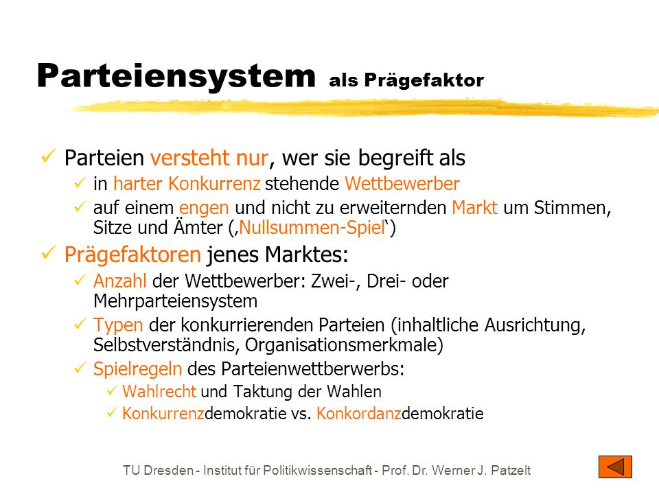 Parteiensystem als Prägefaktor